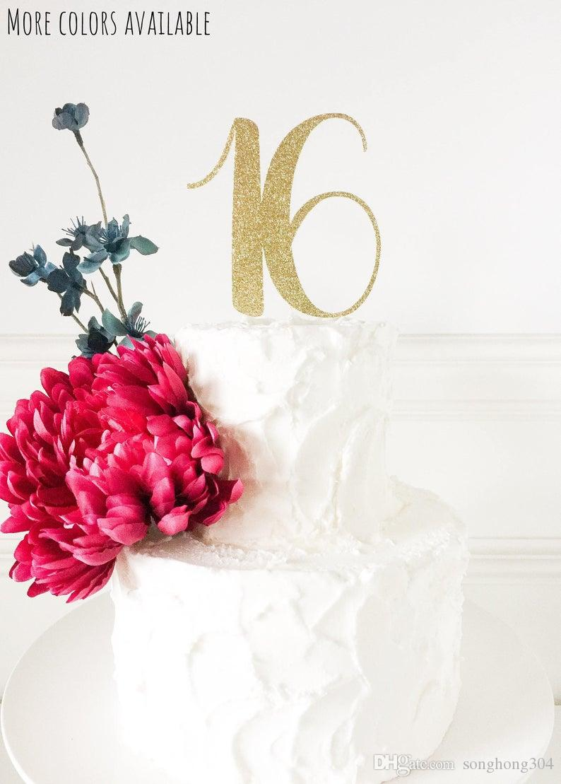 Astonishing 16 Birthday Cake Topper Gold Glitter Topper Age Number Cake Topper Personalised Birthday Cards Epsylily Jamesorg