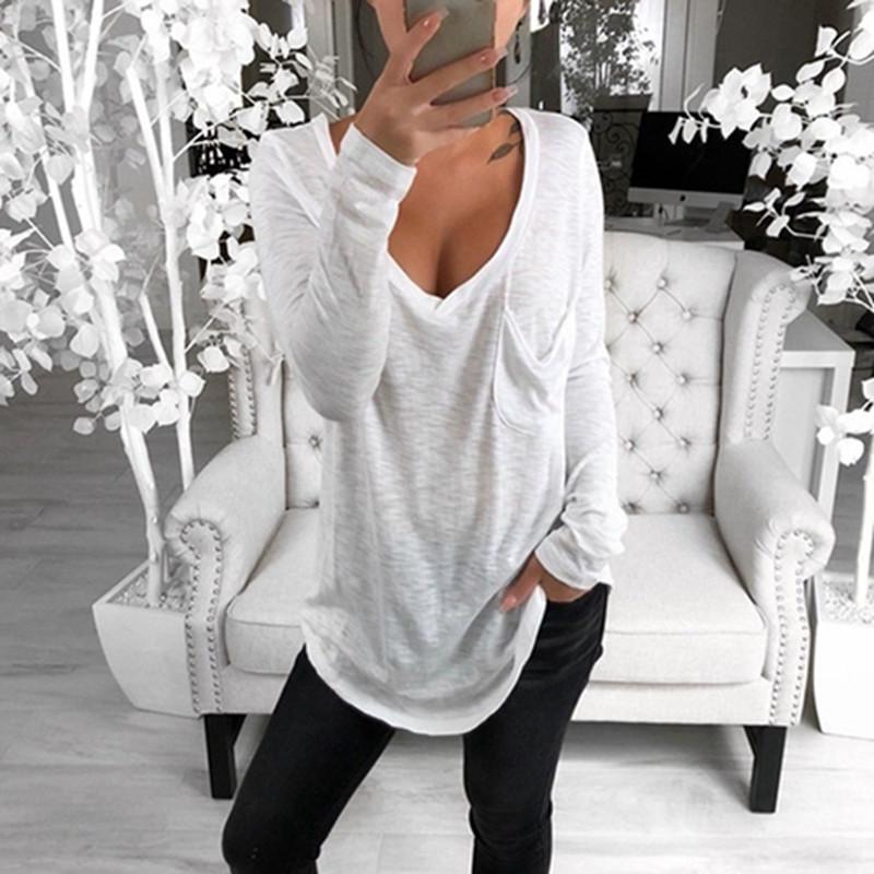 2019 Autumn Sexy scollo a V maglietta casuale Donna Solid molla maglietta allentato Rosa Grigio signore maniche lunghe T-shirt epoca parti superiori i NUOVI