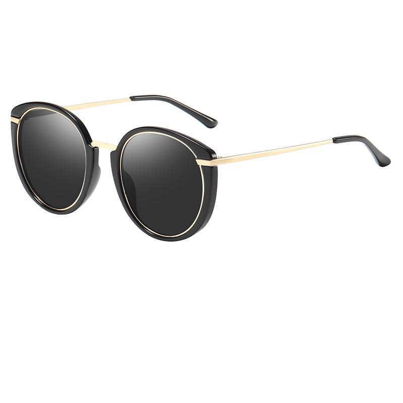 Top quality ladies big box sunglasses round polarized glasses ladies cat eyes sunglasses tide ladies fashion personality HD sunglasses