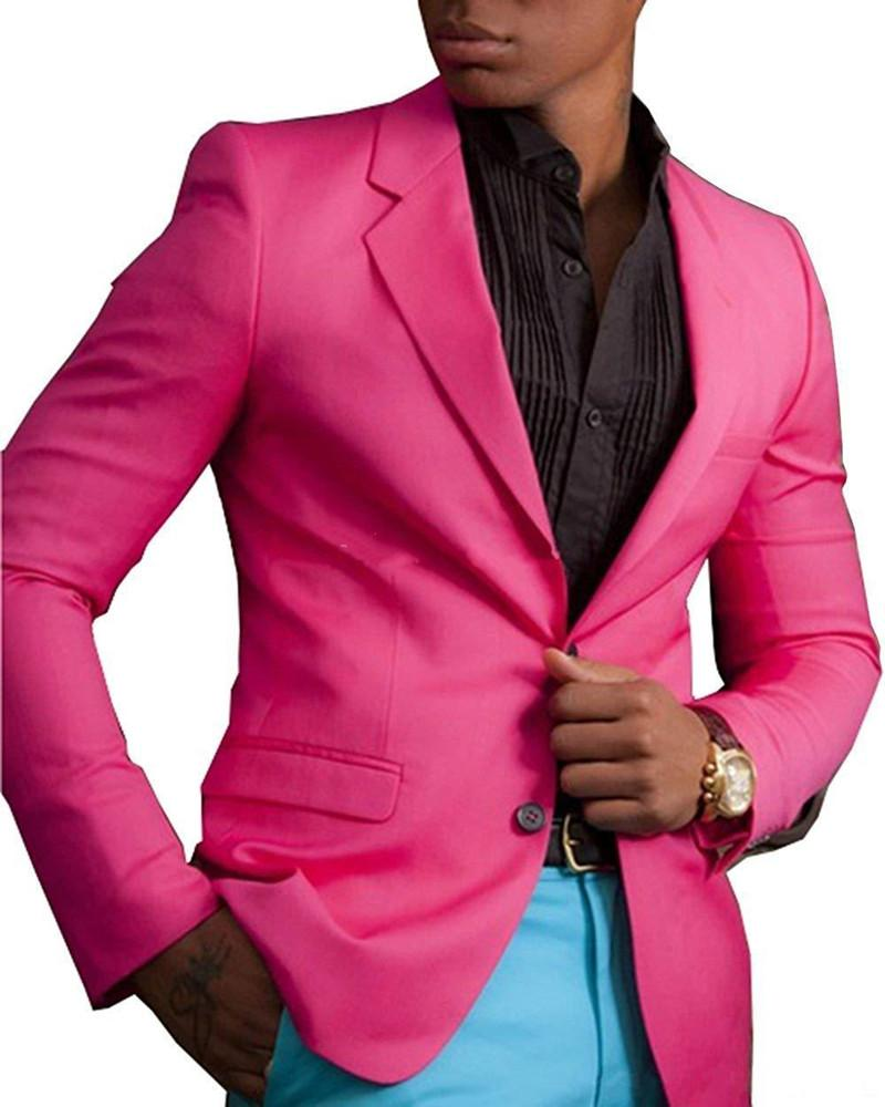 New Classic Style Two Button Hot Pink Wedding Groom Tuxedos Notch Lapel Groomsmen Mens Dinner Blazer Suits (Jacket+Pants+Bow Tie) 451