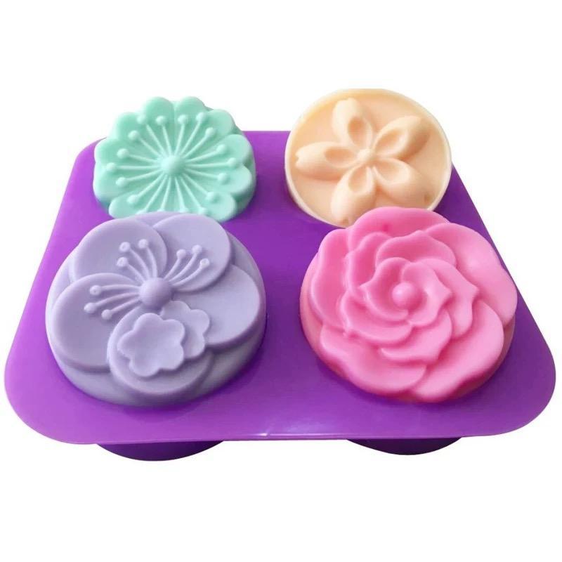 4 in 1 Forma rotonda millefiori stampo in silicone torta di stampo in silicone utensili da cucina, decorazioni, accessori fondente