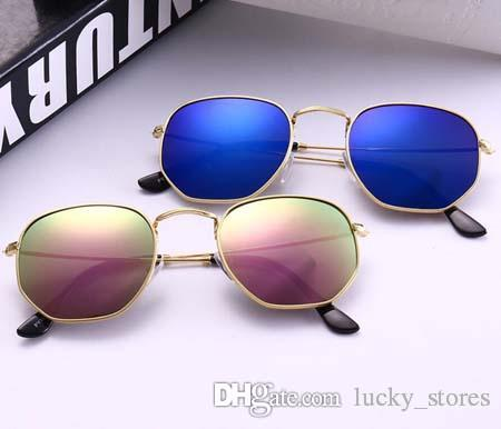 Moda Polígono Óculos de Sol Mulheres Homens Designer Hexagonal Sun Óculos Clássicos para Senhoras Marca Shades Gradiente UV400 3548 com casos