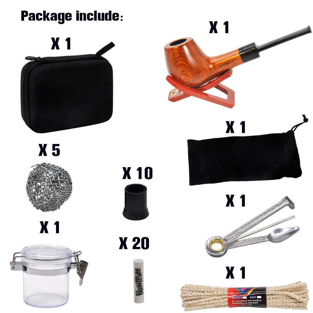 Hornet Tobacco Bag Set Holz-Tabakpfeife + Raucherrohre Reinigungswerkzeuge + Carbon-Rohrfilter + Glas-Stash-Glas für Kraut