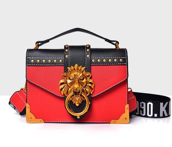 femme tête de lion rivets sacs à main de designer dame seule épaule sacs à bandoulière messenger soirée féminine occasionnels totes noir / blanc / rouge / rose