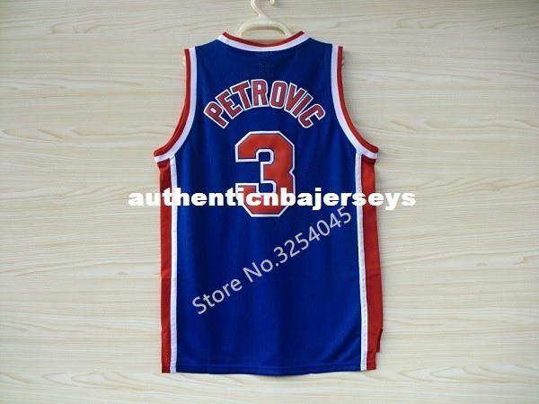2019 Nuevo # 3 Drazen Petrovic Top Basketball Jersey bordado cosido EE.UU. tamaño XS-6XL chaleco Jerseys Ncaa
