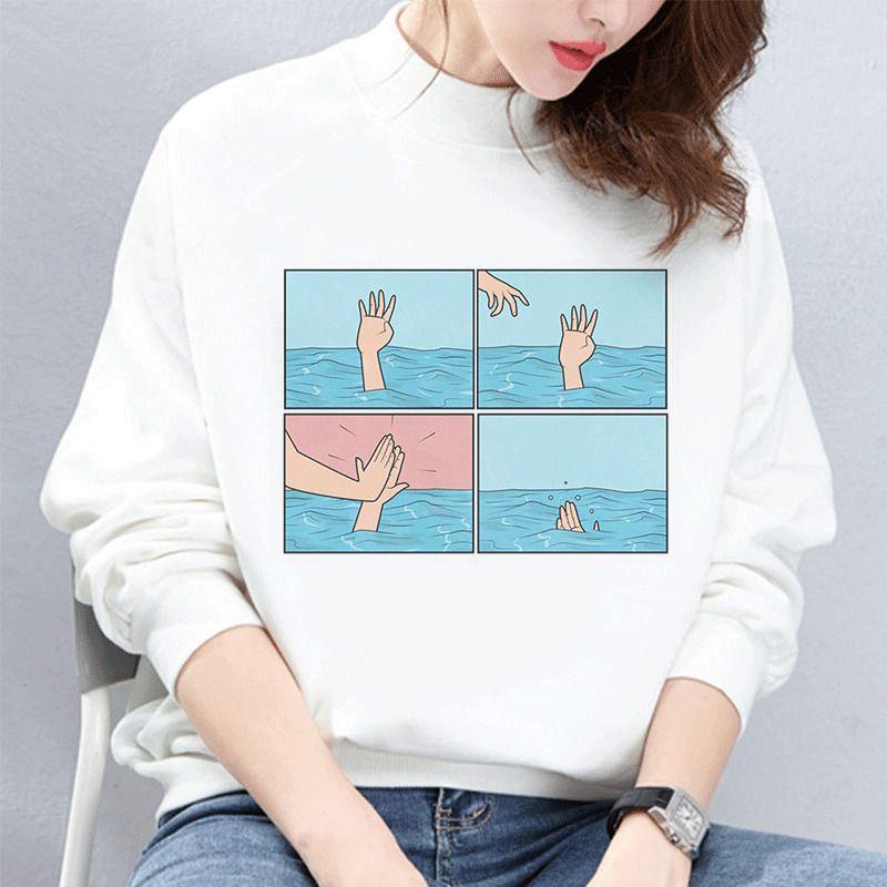 Sudadera Mujer Hoodies Sweatshirt Meine Depression mein Gehirn Meine Angst Unfug langärmelige Kpop Vogue Harajuku lustigen Frauen Drucken