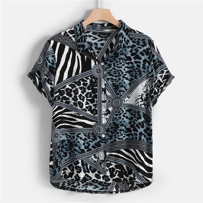 رجل ليوبارد خمر الصيف قميص الرجل مصمم نصب منصة التلبيب عنق قصير كم قميص أزياء الرجال الملابس Casaul