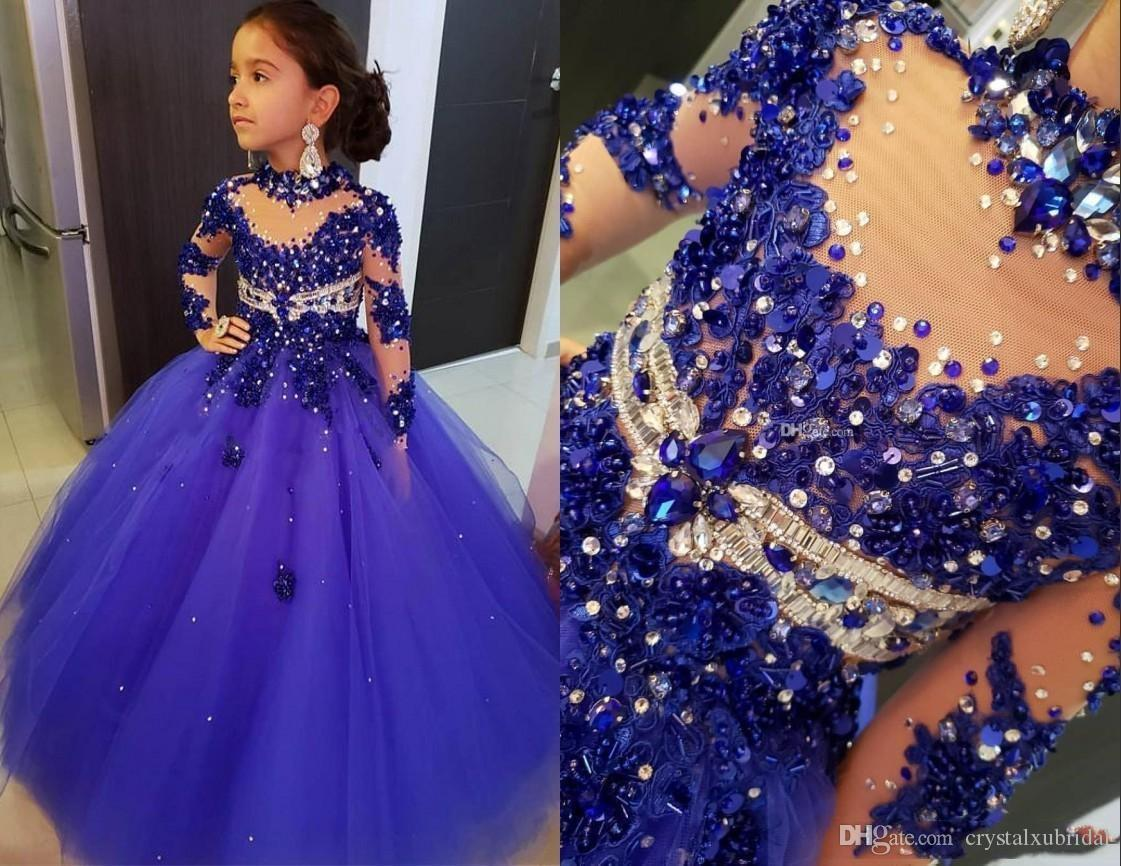 New Royal Blue Little Girls Pageant Dresses Long Sleeves Crystal Beaded High Neck Kids Prom Dresses Birthday Party Gowns For Little Girls