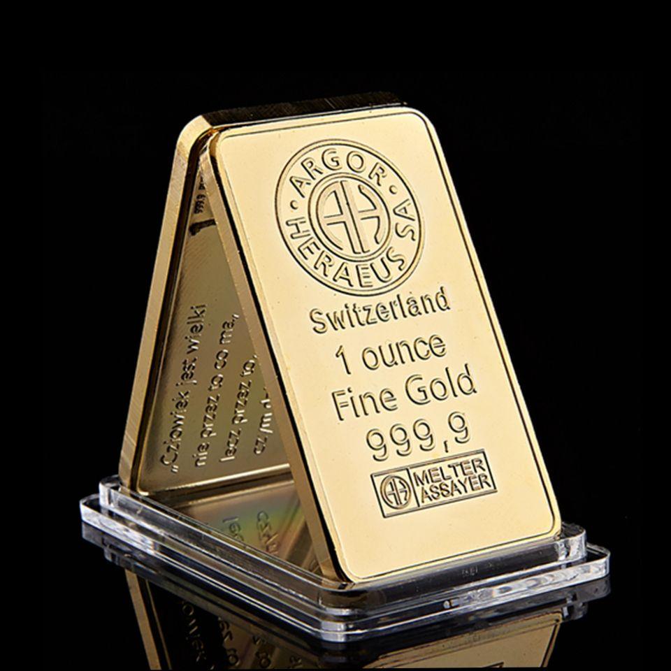Spedizione gratuita Swizerland 1 oncia Argor-Heraeus Sa placcato oro Bar decorazioni domestiche artigianato Biglietto da regalo da collezione