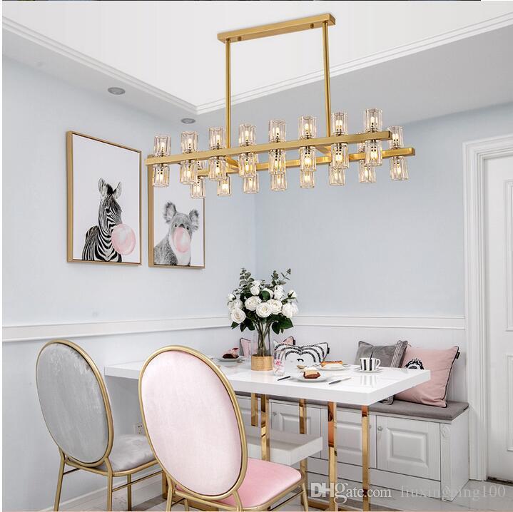 American Loft Crystal Pendant Chandelier Lamp G4 Led Copper Rod Hanging Light Fixture for Living Room Hotel Luxury Home Lustre