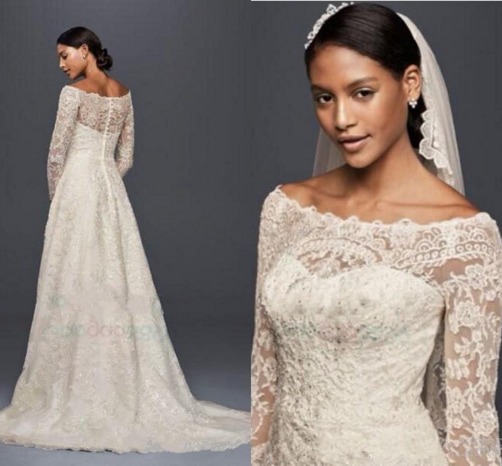 2020 فساتين زفاف متواضع خمر أوليغ كاسيني مع الأكمام الطويلة الرباط زين خارج الكتف حديقة في الهواء الطلق بالاضافة الى حجم أثواب الزفاف