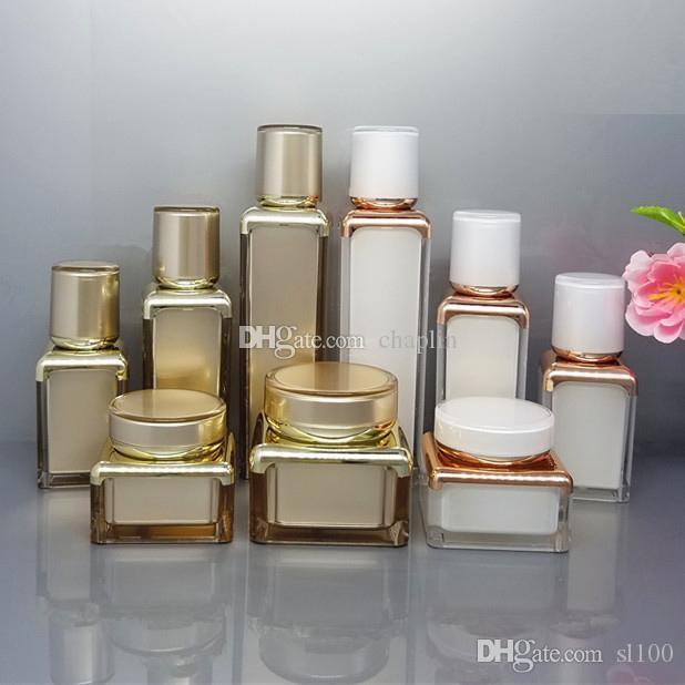 15 30 50 ml Acrylique Airless Pompe à vide Bouteilles de voyage Set Jars crème Lotion cosmétiques Container portable rechargeable avec doublure blanche et or