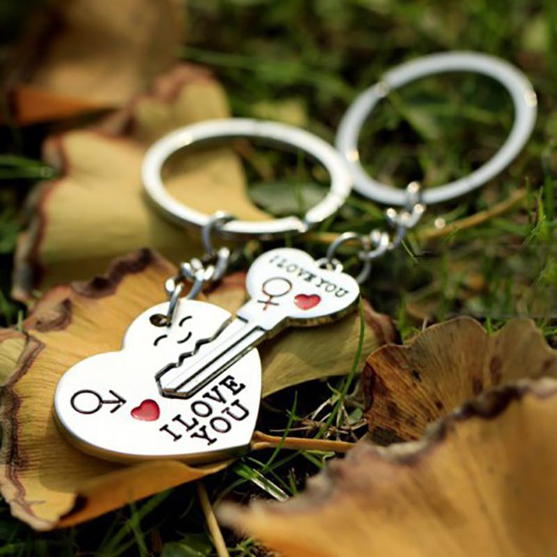 1set/bag Couple I LOVE YOU Letter Key chain Heart Key Ring Silvery Lovers Love Key Chain Souvenirs Valentine's Day gifts 2018
