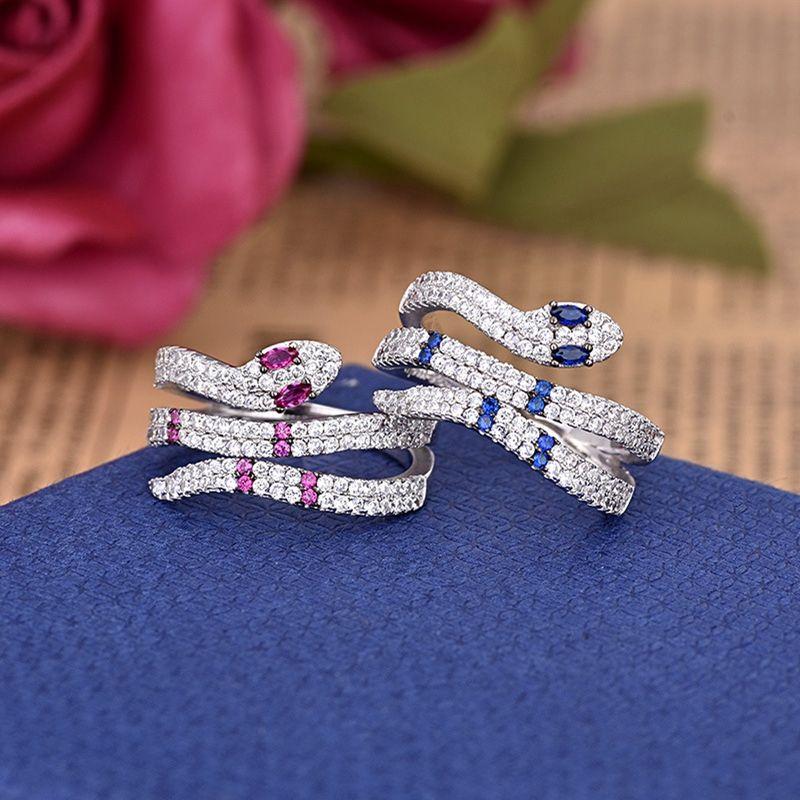 Зарплату Дух Змея Shaped Кольцо европейских и американских моды кольцо Панк Trend Set Циркон Синий Фиолетовый Циркон Пара обручальное кольцо ZK40