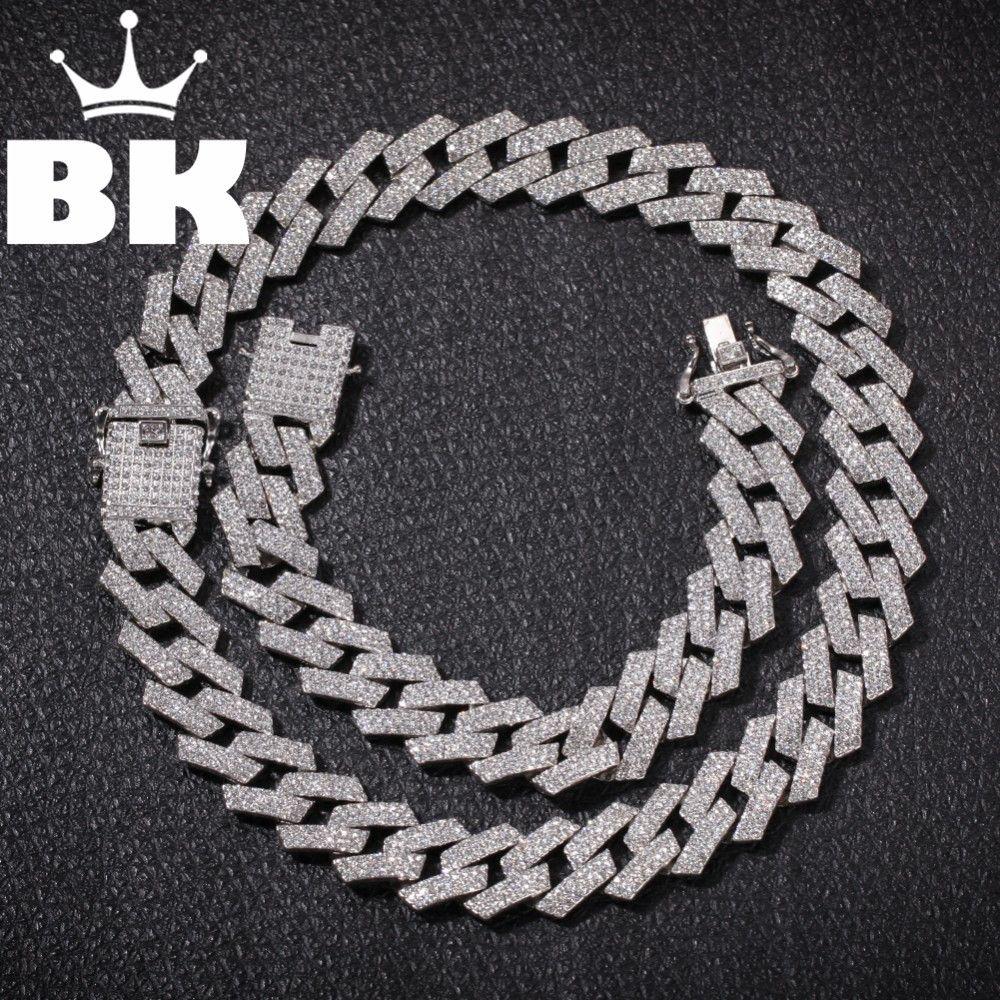 Neue Farbe 20mm Prong Cuban Link-Anhänger Halskette Mode Hiphop Schmuck 3 Row Strass Iced Out-Halsketten für Männer