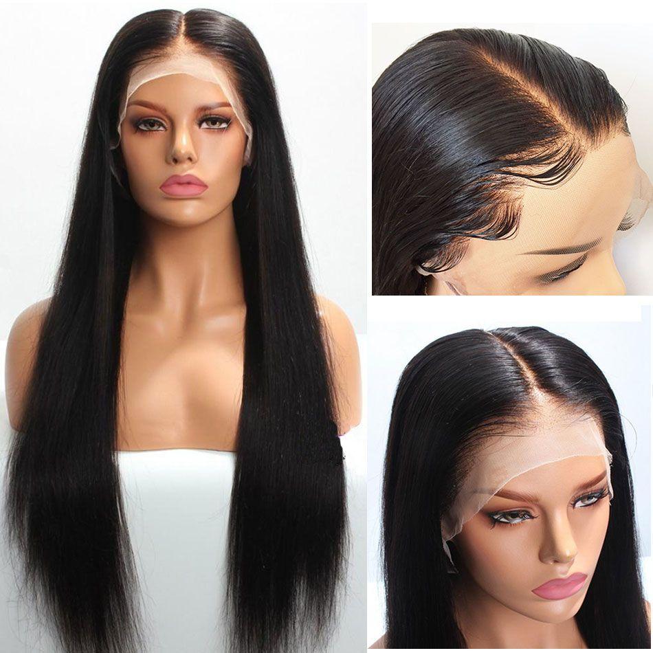 Nahtlose HD-transparente Spitze-Perücken 13x6 Brasilianisches Remy-menschliches Haar gerade Spitzefront-Perücke-KNOG für schwarze Frauen