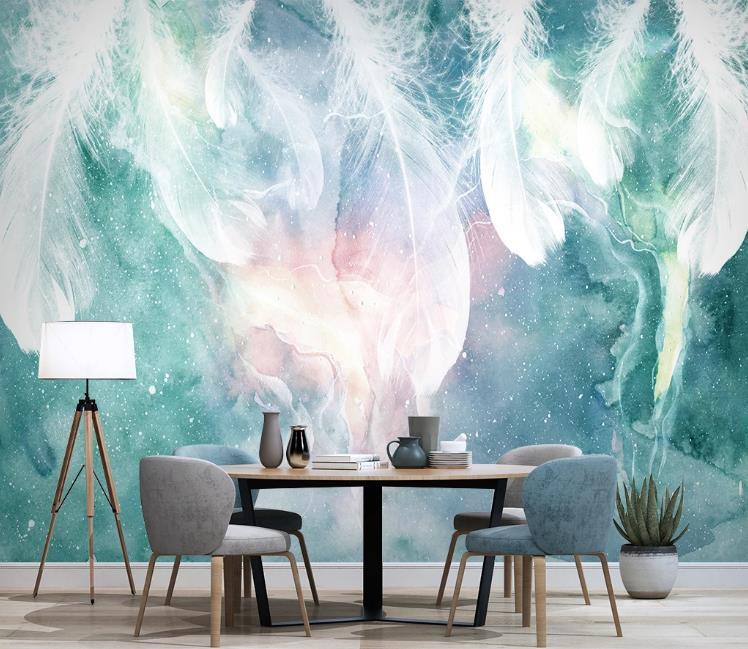 Fondo de pantalla 3D nórdico pluma de tinta abstracta Tapetes fotográficos de la sala dormitorio fondo de la pared del papel pintado arte creativo Frescos