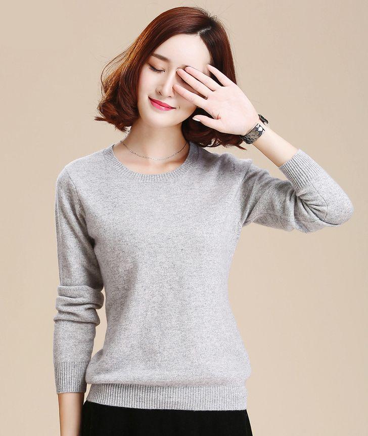 Suéter de cachemir Suéteres y suéteres de mujer Suéter de punto de manga larga de color sólido con cuello en O de mujer Envío gratis