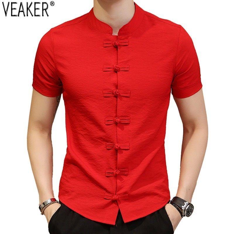 2019 New Men's Chinese Vintage Shirt Mandarin Collar Slim Fit Short Sleeves Cotton Linen Shirt White Red Black Casual Tops