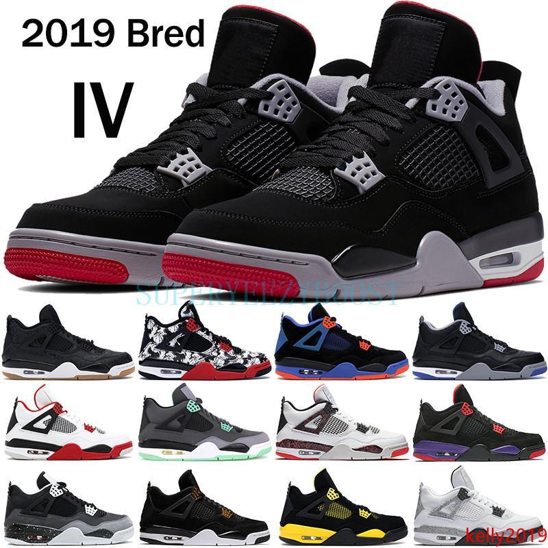 2019 Bred 4 4s de baloncesto zapatos de hombre para hombre negro láser truenos goma libre del tatuaje calientes de lava rapotors de diseño zapatillas de deporte IV formadores de dinero Pure
