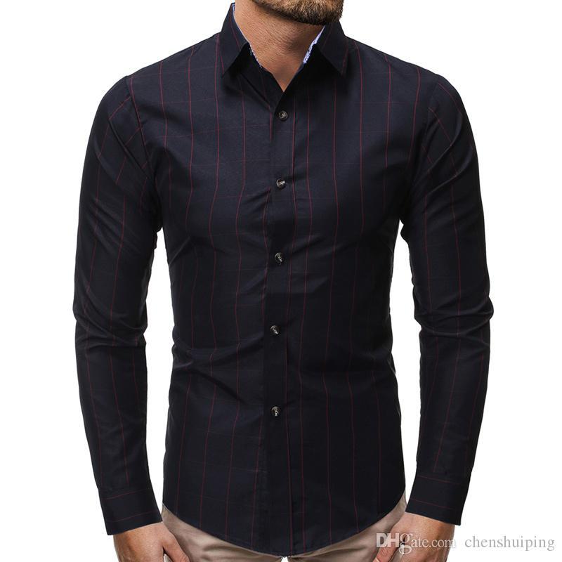 Le camice di plaid a maniche lunghe attillate casuali del maschio di autunno della primavera di nuovo arrivo vestono l'abbigliamento degli uomini di affari Trasporto libero