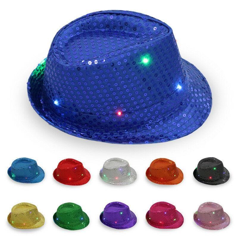 Светодиодные блесток шляпы мужчины и женщины горячей мигающие Fedora фетровой блесток маскарад партия шляпы Циндилиндер сценический костюм XD22744