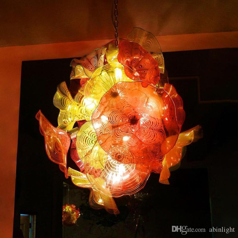 Modern Floral Chandelier Lamp Orange Yellow Color Lustre Light Rose Flower Chandelier Light Fixture E14 LED Home Decoration Glass Chandelier