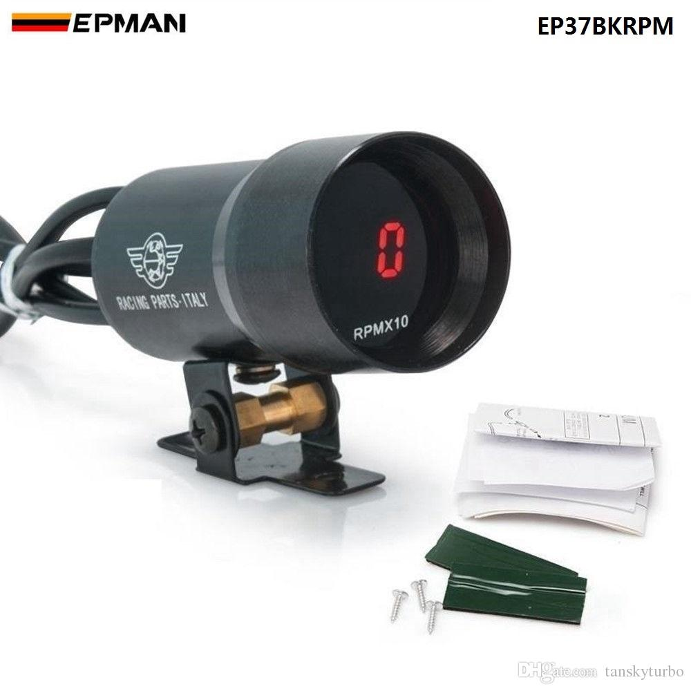 EPMAN 37mm Meter / Messgerät - Kompakte mikro digitale geräucherte Linse Drehzahl RPM Tacho Gauge Auto Gauge EP37BKRPM