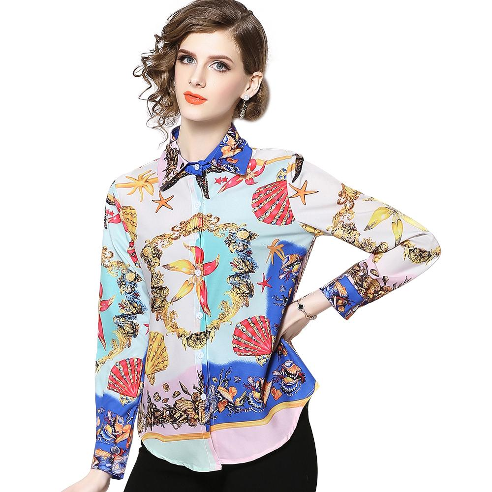 Primavera Verano otoño pasarela Chic Vintage estampado Collar botón frontal manga larga mujeres señoras Casual OL fiesta Tops camisa blusa XCBY3084