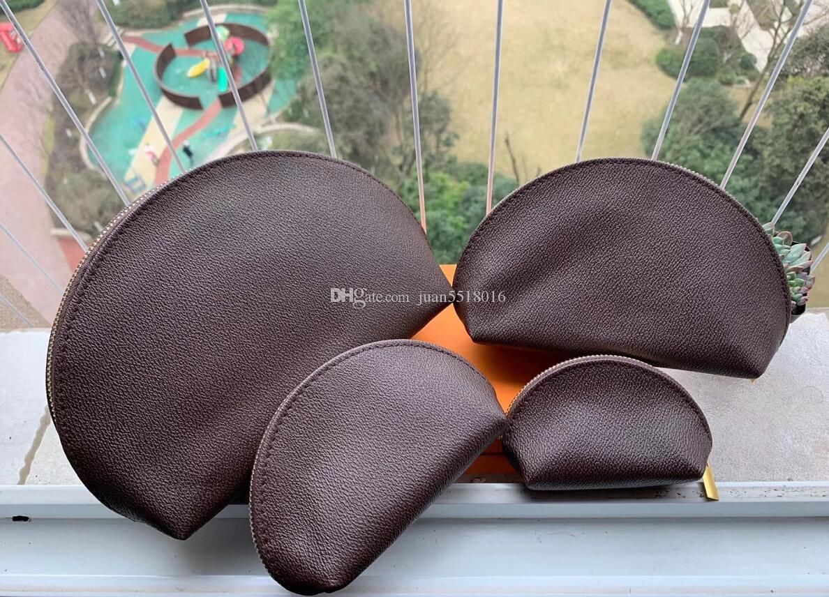 4pcs brown Women cosmetic bags organizer makeup bag travel pouch make up bag ladies cluch purses organizador toiletry bag
