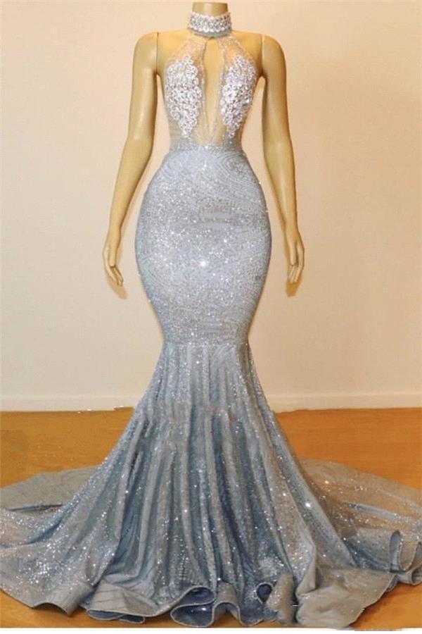 Argento sexy lungo della sirena Prom Dresses Halter perline cristalli Illusion Top Backless Black Girls partito di sera abiti 2K19