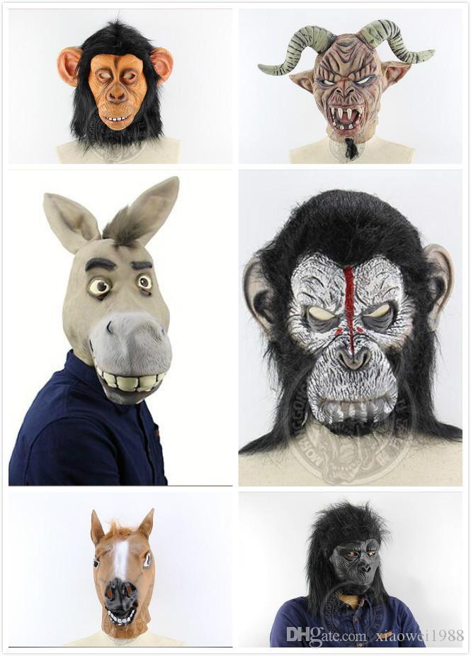 Halloween-lustiger großer Ohr-Affe, Schaf-Horn, Teufel, Monster, Esel-Kopf, Shrek-armschnabeliger Esel, Affe, Affe, Pferdekopf, Schimpansenkopf, Fu