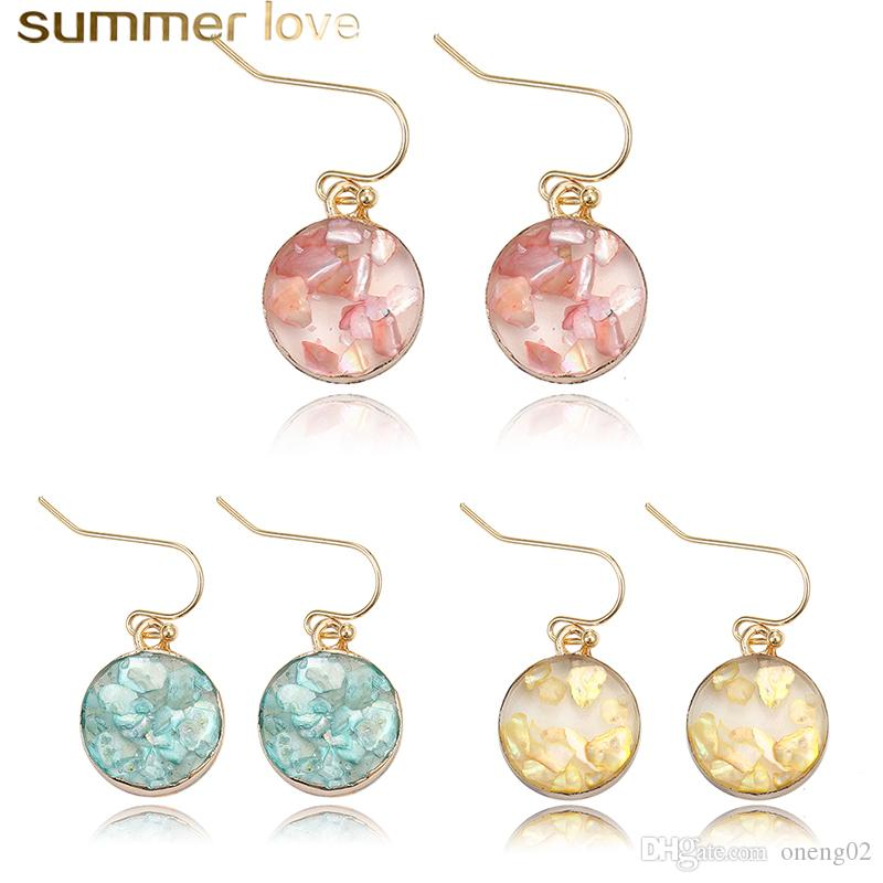 New Designer Geometric Druzy Resin Stone Earrings for Women Girl Fashion Colorful Round Shell Paper Gold Plated Hook Earring Jewelry