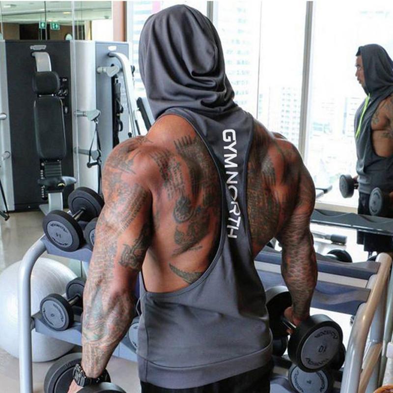2019 Mesh traspirante estate del Mens di marca Stampa Palestre Stringers Vest Abbigliamento Bodybuilding fitness uomo incappucciato Serbatoi Tops MX200518