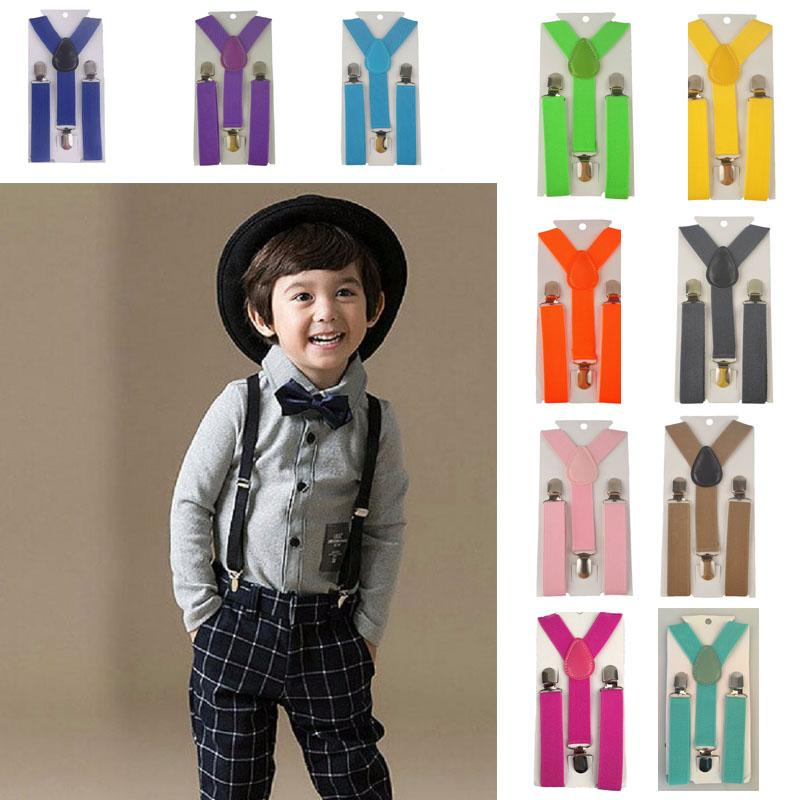 Boys Girls Toddlers Kids Children Y-Back Elastic Clip-on Adjustable Suspenders
