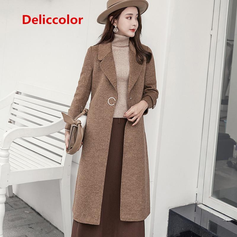 DELICCOLOR 100% lana cappotto autunno inverno 2018 manica lunga Slim femminile doppio lato lana cappotto lungo stile famale one fibbie