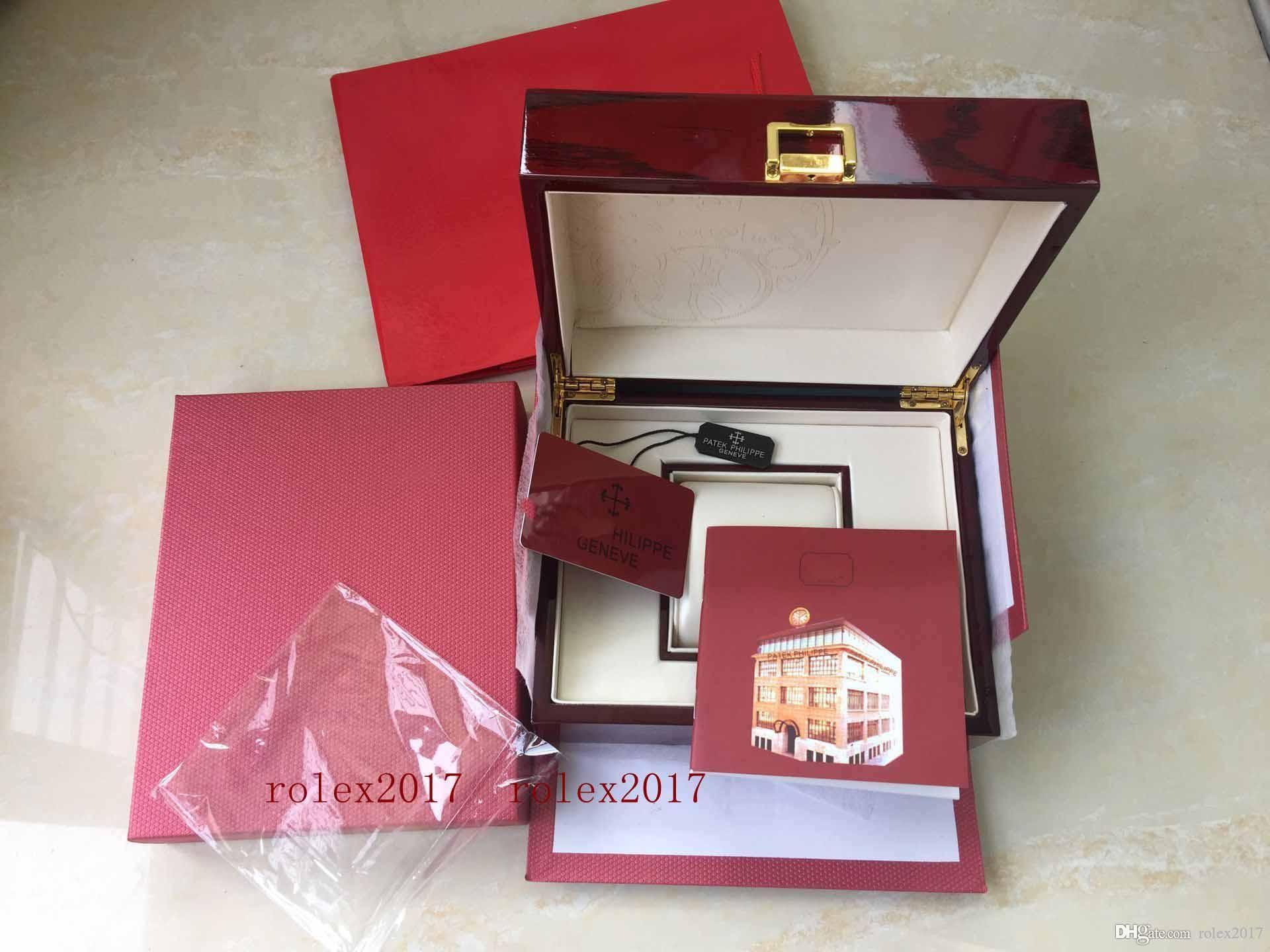 أوراق صندوق الفاخرة عالية الجودة Topselling ال PP الأحمر نوتيلوس الأصل بطاقة خشب 20 * 16CM صناديق اليد للرائد بحار 5711 5712 5990 5980 الساعات