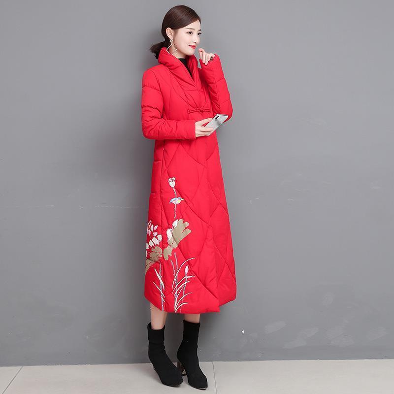 Style Chinois Manteau parka Print hiver coton matelassé Veste longue mode épais manteaux chauds de femmes