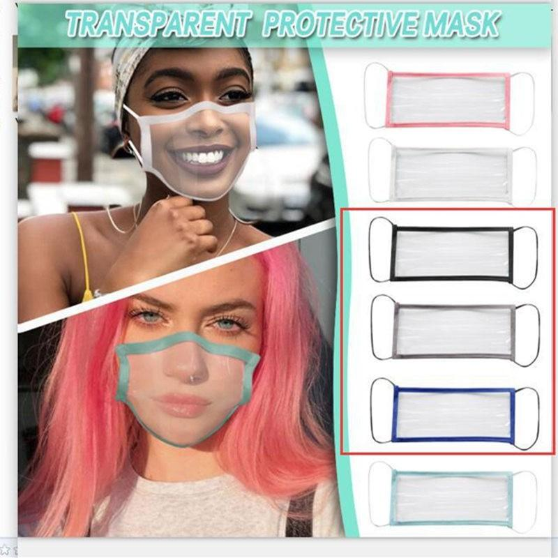 HOT sourds-muets masque visage transparent lavable Réutilisable Masques anti-poussière antibuée Earloop clairs Masques Designer DHC819