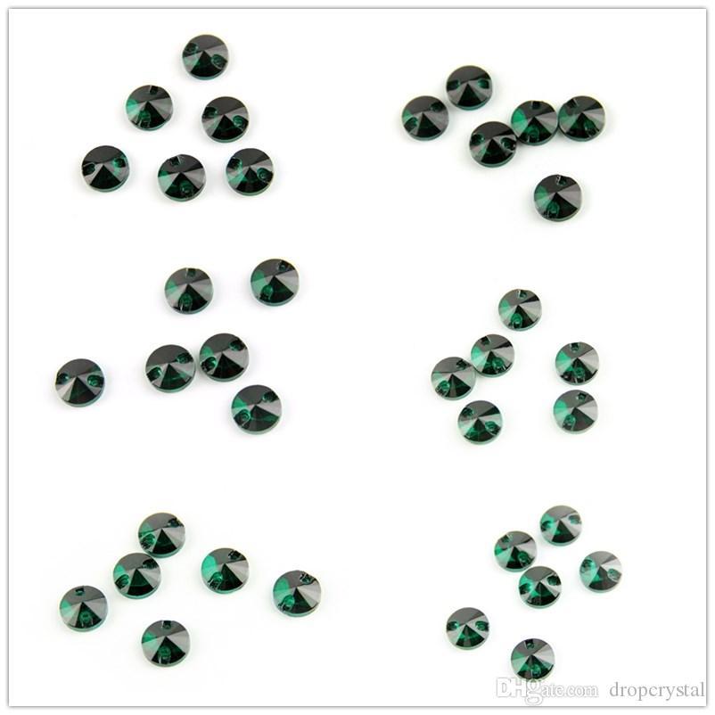 Various Sizes Zircon Green Round And Rivoli Sew On Stone Crystal Stones Sewing Rhinestone For Wedding Dress