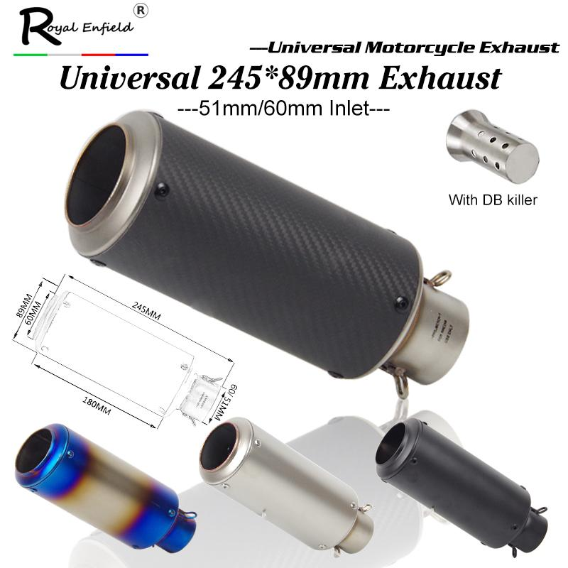 Laser marking New Motorcycle Exhaust Pipe Scooter Modified 61mm 50mm exhaust Muffler pipe For ER6N for S1000RR
