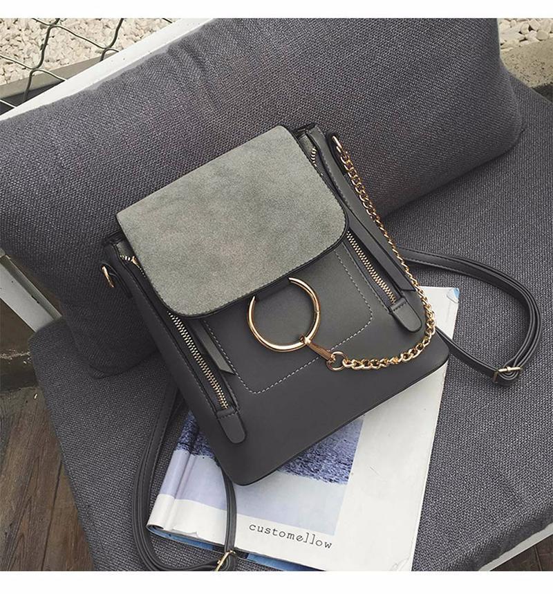 Двойная молния цепи кольцо плеча Crossbody сумки для женщин старинные скраб искусственная кожа Сумки женские сумки известный женский мешок