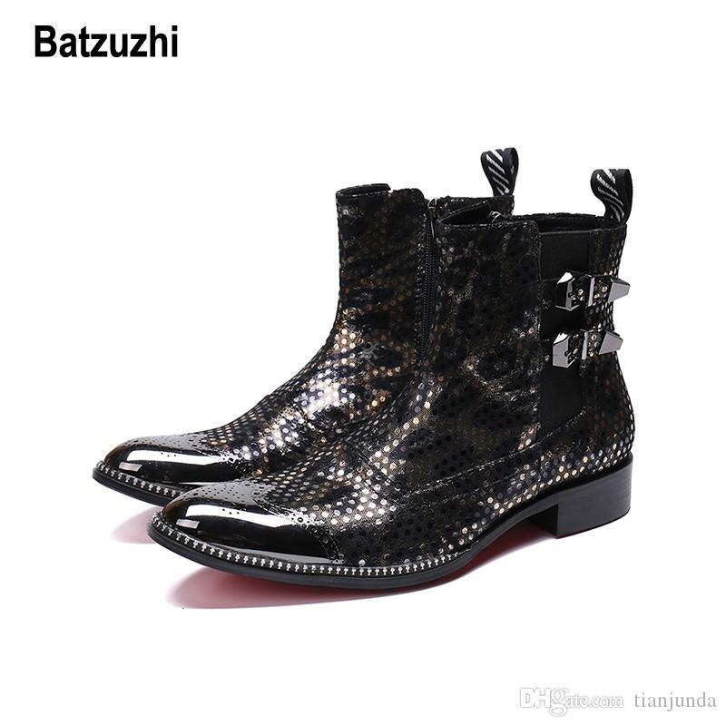 Batzuzhi occidentale maschile stivali punta a punta in metallo stivali da moto da cowboy uomini inverno bello partito Botas uomini zapatos de hombre