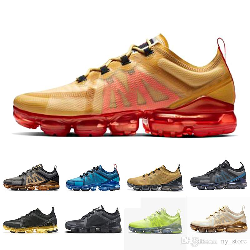 vapormax 2019  Summer cushion Brand new shoes man 2019 sneakers Canyon Gold Aluminum Blue men women black red white trainer sports running shoe