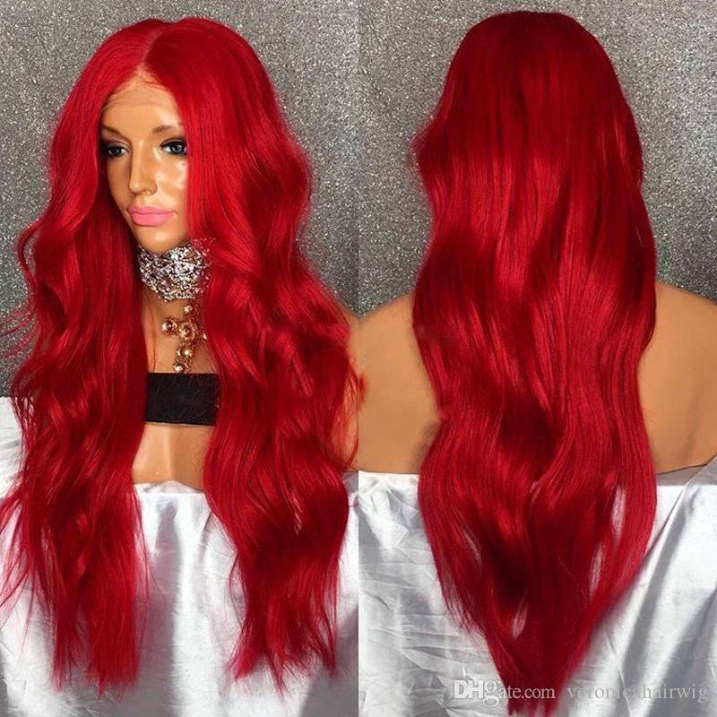 Sin cola nueva llegada sin procesar remy remy virginal cabello humano sexy rojo colorido onda larga del cuerpo lleno de encaje de seda peluca superior para las mujeres