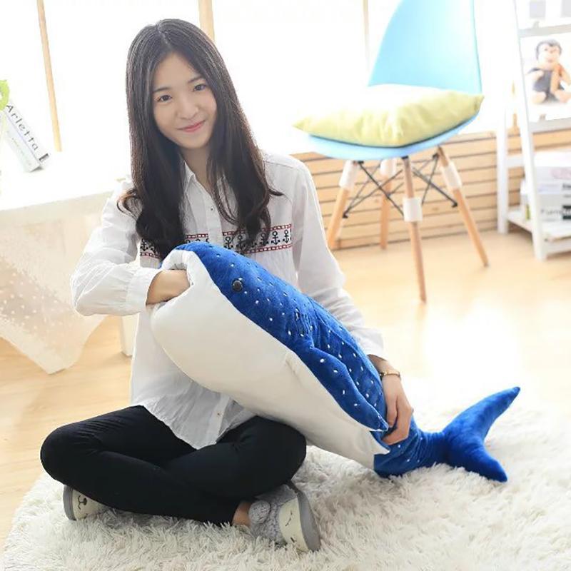 50/100cm Large Size Blue Shark Plush Toys Big Fish Cloth doll Whale stuffed plush animals doll Children Birthday Gift