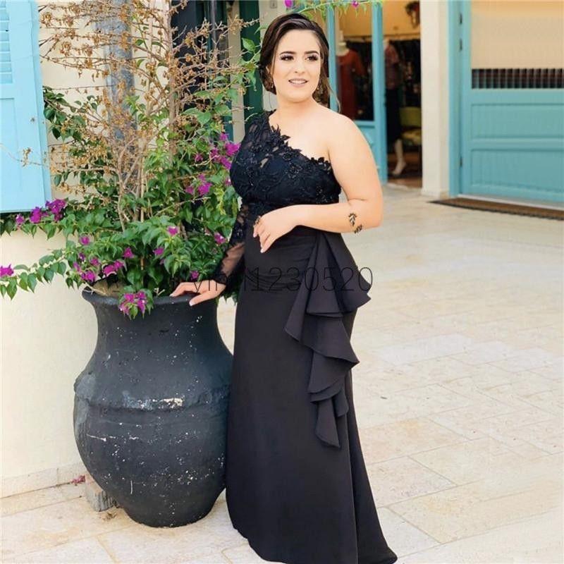 Noir sirène robes de soirée une épaule à manches longues Ruffles Perles Illusion formelle Appliques Prom Party Robes vestidos de noche Plus Size