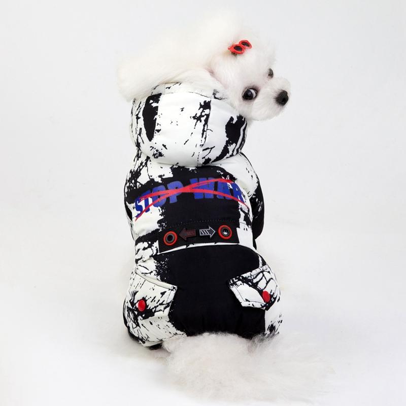 Vêtements d'hiver pour chien Super Pet chaud 4 Legged Down Jacket pour les petits chiens Manteau pour chien imperméable Épaissir coton Sweats à capuche pour Chihuahua