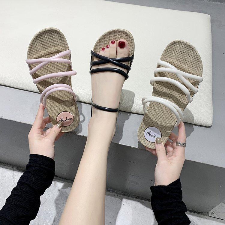 JAYLAY 2020 nouvelles femmes sandales flip flop dames fond plat chaussures de plage pantoufles étudiants de la mode Voyage en plein air 040408