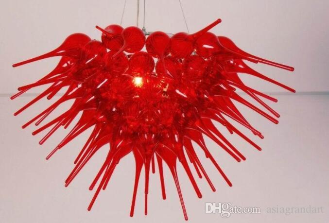 100٪ الفم في مهب CE UL البورسليكات زجاج مورانو كيلي دايل الفن المصقول الأحمر الذكاء زجاج Candelier الإضاءة